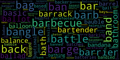 Words Starting With Ba - WordCloud