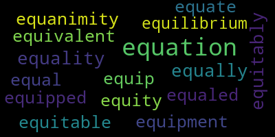 Words Starting With Eq - WordCloud