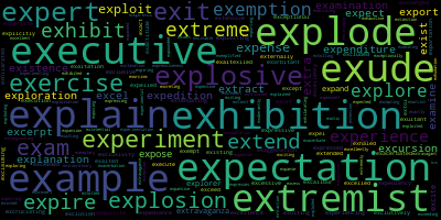 Words Starting With Ex - WordCloud