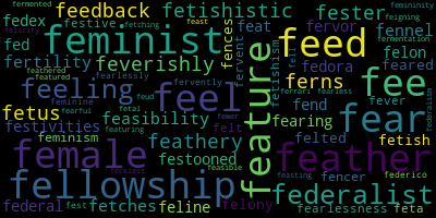 Words Starting With Fe - WordCloud