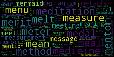 Words Starting With Me - WordCloud