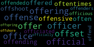 Words Starting With Of - WordCloud