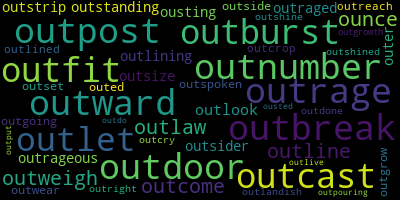 Words Starting With Ou - WordCloud