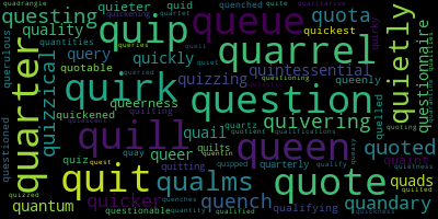 Words Starting With Q - WordCloud