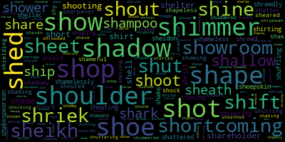 Words Starting With Sh - WordCloud