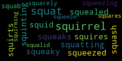 Words Starting With Sq - WordCloud